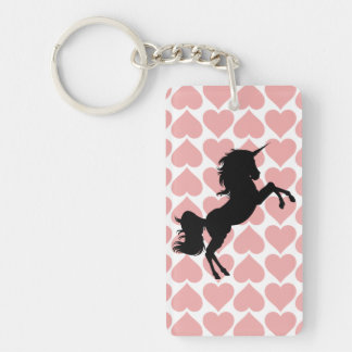unicorn pink hearts pattern love key chain