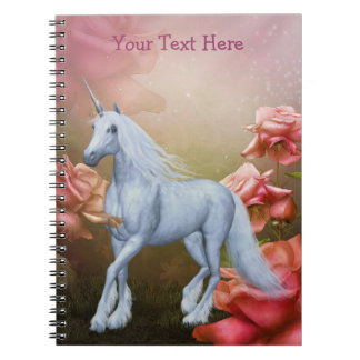Unicorn Pink Roses Fantasy Horse Notebook