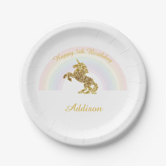 Unicorn plates for birthdays 7 inch paper plate