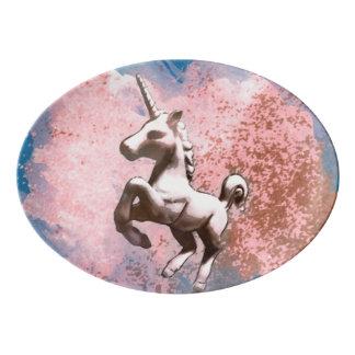 Unicorn Platter Coupe Porcelain (Faded Sherbet) Porcelain Serving Platter