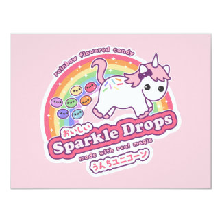 Unicorn Poop Candy Birthday Party Invitations