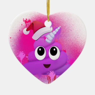 Unicorn Poop Santa Emoji Spray Paint Ceramic Ornament