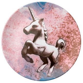Unicorn Porcelain Plate Decor (Faded Sherbet)