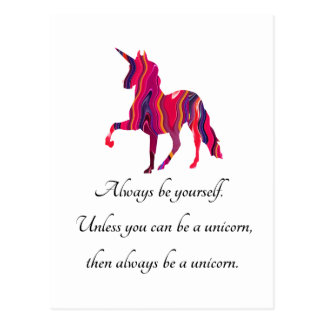 Unicorn Postcard with Saying on It