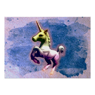Unicorn Poster Art Print 28x20 (Burnt Blue)