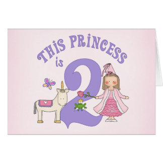 Unicorn Princess 2nd Birthday Invitation Note Card