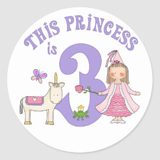 Unicorn Princess 3rd Birthday Classic Round Sticker