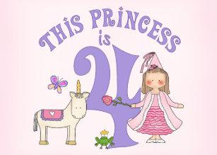 Unicorn Princess 4th Birthday Invitation