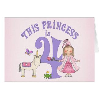 Unicorn Princess 4th Birthday Invitation Note Card