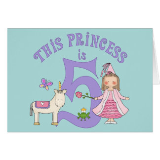 Unicorn Princess 5th Birthday Inviitation Card