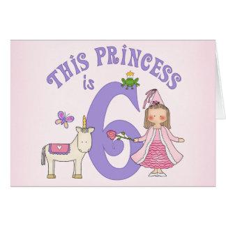 Unicorn Princess 6th Birthday Invitation Note Card
