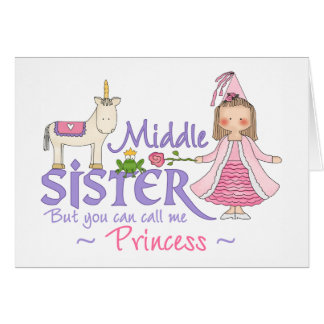 Unicorn Princess Middle Sister Note Card