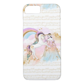 Unicorn Princess Rainbow music stars pink blue iPhone 8/7 Case