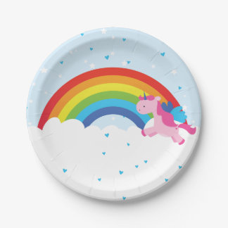 Unicorn Princess Rainbow Paper Plate
