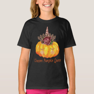Unicorn Pumpkin Queen with Floral Crown T-Shirt