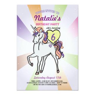 Unicorn Purple Birthday Party Girls Invite