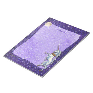 Unicorn Purple Faux Glitter Border Notepad