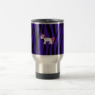 Unicorn purple zebra stripes travel mug