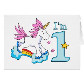 Unicorn Rainbow 1st Birthday Stationery Note Card