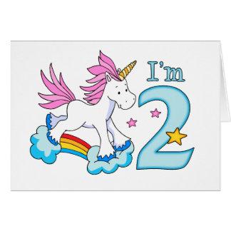 Unicorn Rainbow 2nd Birthday Note Card