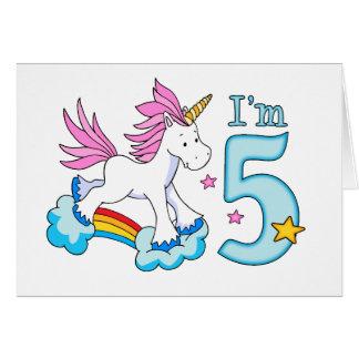 Unicorn Rainbow 5th Birthday Stationery Note Card