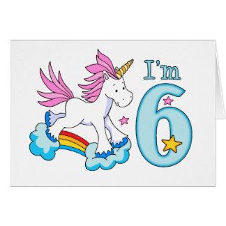 Unicorn Rainbow 6th Birthday Note Card