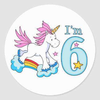 Unicorn Rainbow 6th Birthday Round Sticker
