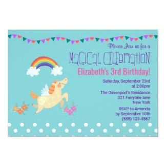 Unicorn Rainbow and Clouds Birthday Invite