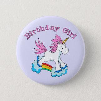 Unicorn Rainbow Birthday Girl 2 Inch Round Button
