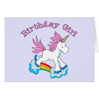 Unicorn Rainbow Birthday Girl Card