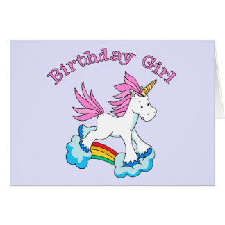 Unicorn Rainbow Birthday Girl Stationery Note Card