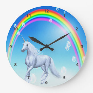 Unicorn, Rainbow & Bubbles Large Clock