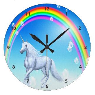 Unicorn, Rainbow & Bubbles Large Clock