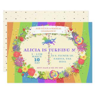 Unicorn Rainbow Carousel Birthday Party Invitation