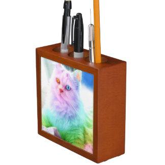 Unicorn Rainbow Cat Desk Organizer