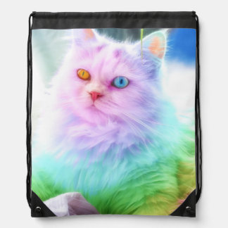 Unicorn Rainbow Cat Drawstring Bag