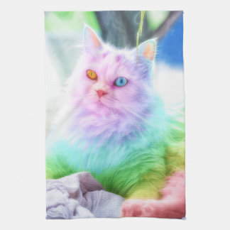 Unicorn Rainbow Cat Kitchen Towel