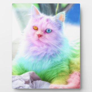 Unicorn Rainbow Cat Plaque