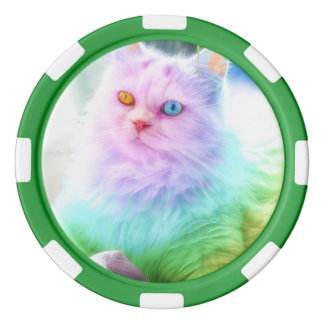 Unicorn Rainbow Cat Poker Chips