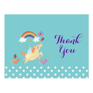 Unicorn Rainbow Clouds and Flowers Birthday Thanks Postcard