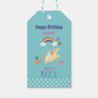 Unicorn Rainbow Clouds and Flowers Happy Birthday Pack Of Gift Tags