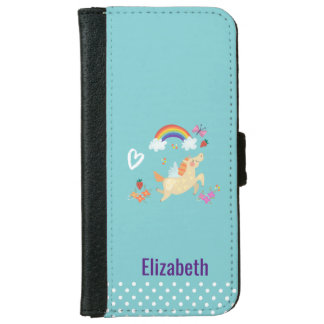 Unicorn Rainbow Clouds and Flowers Personalized iPhone 6 Wallet Case