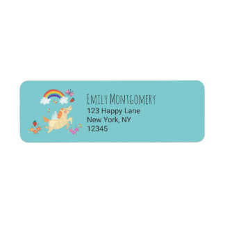 Unicorn Rainbow Clouds and Flowers Return Address Label