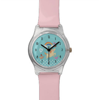 Unicorn Rainbow Clouds and Flowers Watch