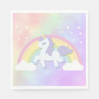 Unicorn Rainbow Girls Birthday Party Napkin