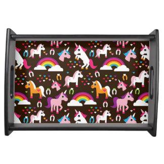 unicorn rainbow kids background horse serving tray