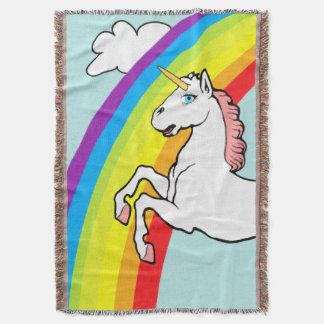 Unicorn Rainbow Throw Blanket