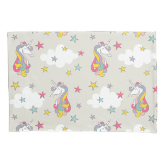 Unicorn Rainbows Clouds and Colorful Stars Bedroom Pillowcase