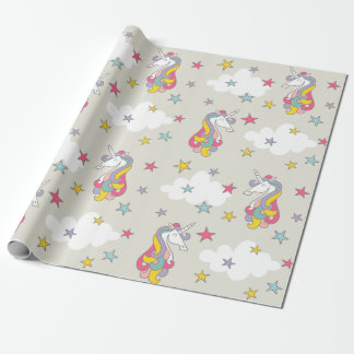 Unicorn Rainbows Clouds and Colorful Stars Wrapping Paper