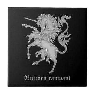 Unicorn rampant medieval heraldry tile